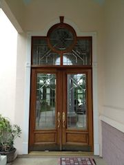 Antique Glass Front Door Refinished by Red Door Painting, LLC After